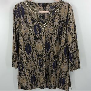 Dana Buchman Embellished V-Neck Tunic Top Size XL